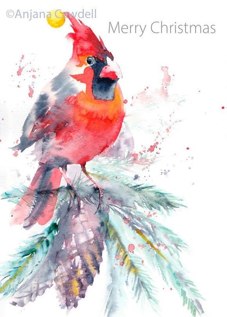 Christmas Card Penguin Card red cardinal bird card image 0