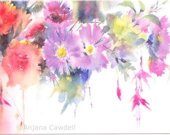 Chrysanthemum and Fuchsia - Blank Greetings Card, Floral Card, Flower Card, Floral Watercolour, Watercolour Card