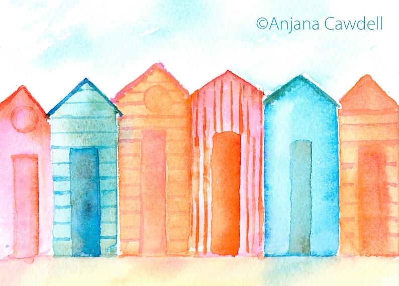 Beach Huts Card Seaside Card Cheerful Summer Retirement image 0