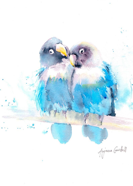 Original love birds painting Wedding Gift wedding image 0