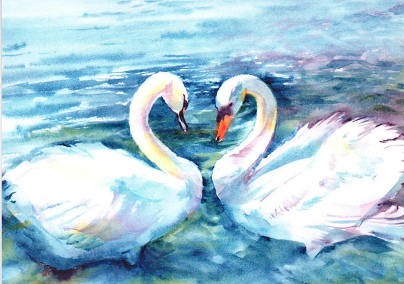 Wedding Card Lovebirds card Agapornis Swans courting image 0