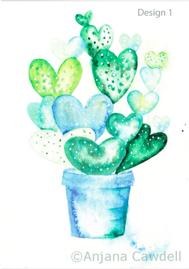 863a1e033 Cactus Blank card wedding card grow love heart cactus card