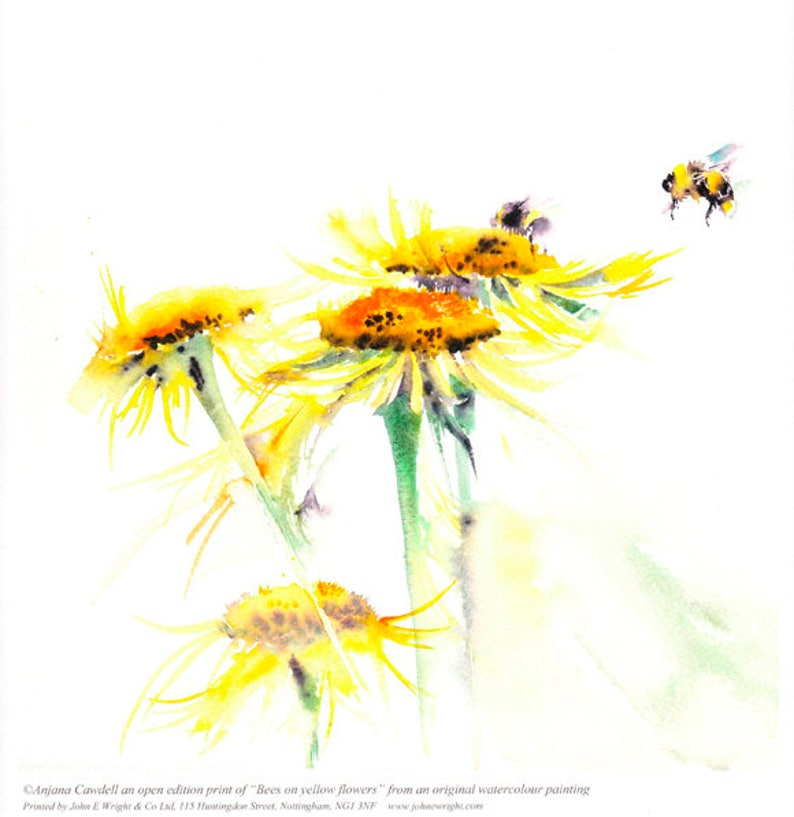 Bees on Yellow Flowers  Giclee Print of Watercolour Painting image 0