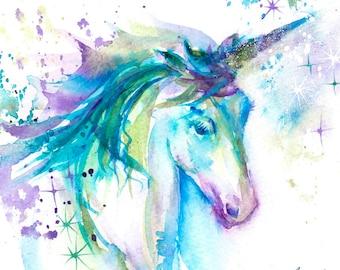 Unicorn Painting, Original Watercolour Painting, Watercolor Painting, Horse, Birthday Gift, Blue, purple, unicorn gift, children's room