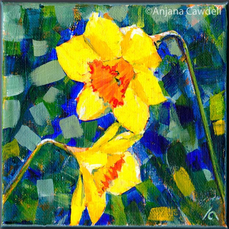 Daffodil Wall Art Original Daffodil Painting Daffodil on image 0