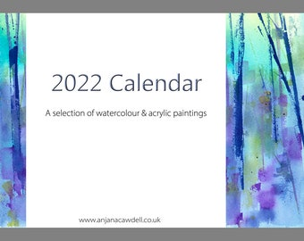 2022 Calendar, Nature inspired, Bee painting, Landscape painting