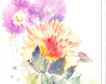 Chrysanthemum - Blank Greetings Card, Autumn Card, Autumn Floral Card, Autumn Watercolour Card, Watercolour Card, Watercolor Card