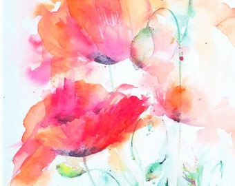 Poppy Design 2 - Blank Greetings Card, Watercolour Card, Watercolor Card, Poppy Card, Poppy Watercolour
