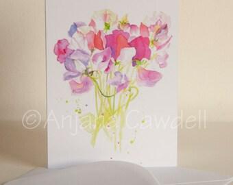 Sweetpea - Blank Greetings Card, Flower Card, Floral Card, Sweetpea Watercolour Card, Sweetpea Painting