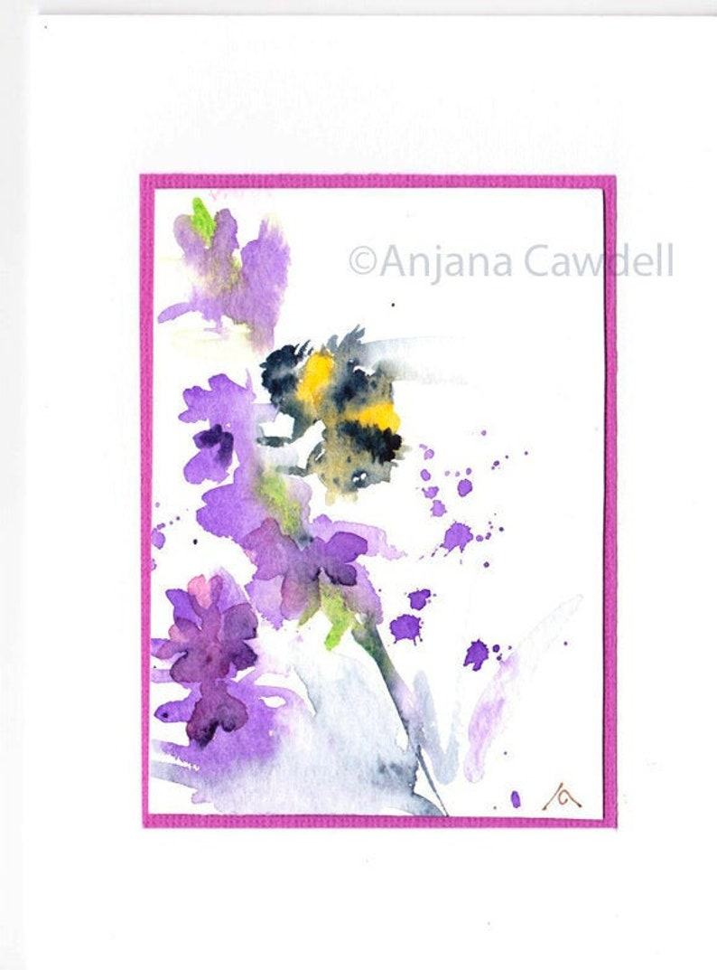 Bee Card Hand painted Bee Original Art Birthday Card image 0