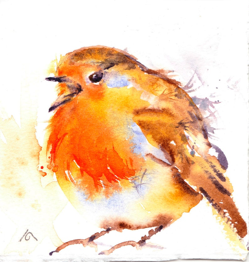 Original Bird Painting Robin Watercolour Painting Bird image 0