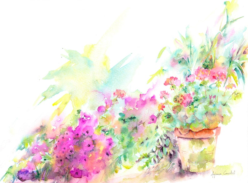 Garden watercolour painting original watercolor art Floral image 0