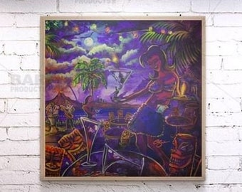 "Square Wooden Table Top or Wall Hanging ""Drink Drink Tiki"" - Two Sizes Available"