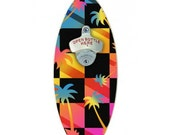 Awesome Palms Wooden Surfboard Wall Mounted Bottle Opener