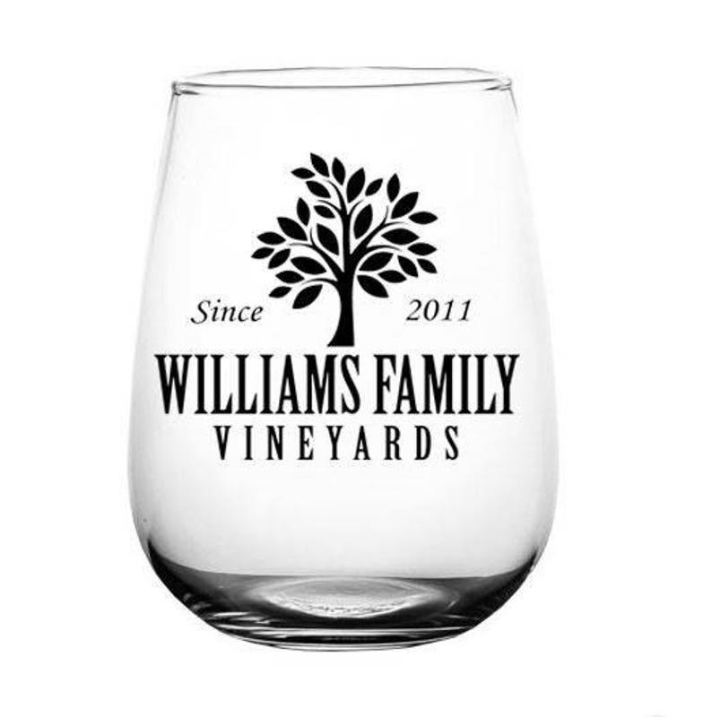 894778b1e6e CUSTOMIZABLE Stemless Wine Glass 17 ounce Family Tree | Etsy