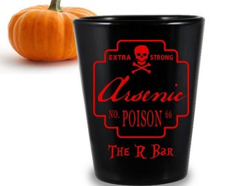 CUSTOMIZABLE Black Shot Glass - Poison Halloween Design - 1.75 Ounce - Halloween Party Decorations - Party Favors - Personalized Shot Glass