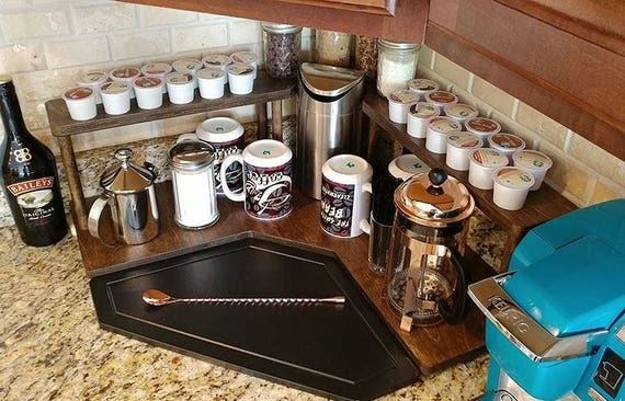 Counter Shelf - Coffee Station Shelf - Kitchen Counter Shelves - Counter  Caddies™ - Stained Finish - CORNER Shelf - Coffee Organizer - K Cup