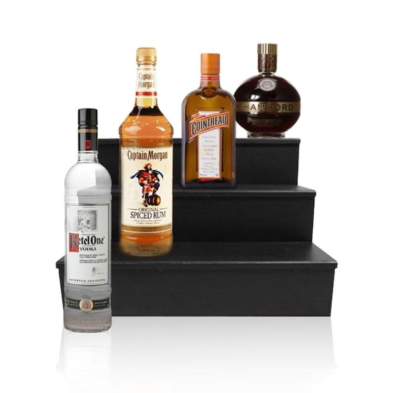 Wood Liquor Shelves - Bar Shelf - Shelves for Liquor Bottles - Bottle  Dsiplay - 3 Tier - Black - Multiple Sizes - Bar Shelf - Home Bars