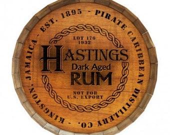 Jamaican Rum - Custom Wood Barrel Top Sign