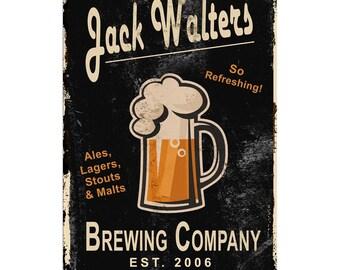 "Brewing Company (Black)  ~ 12"" x 18"" Custom Metal Bar Sign"