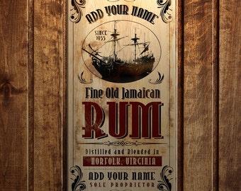 "Jamaican Rum~ 11"" x 23"" - Customizable Large Vintage Wooden Bar Sign"