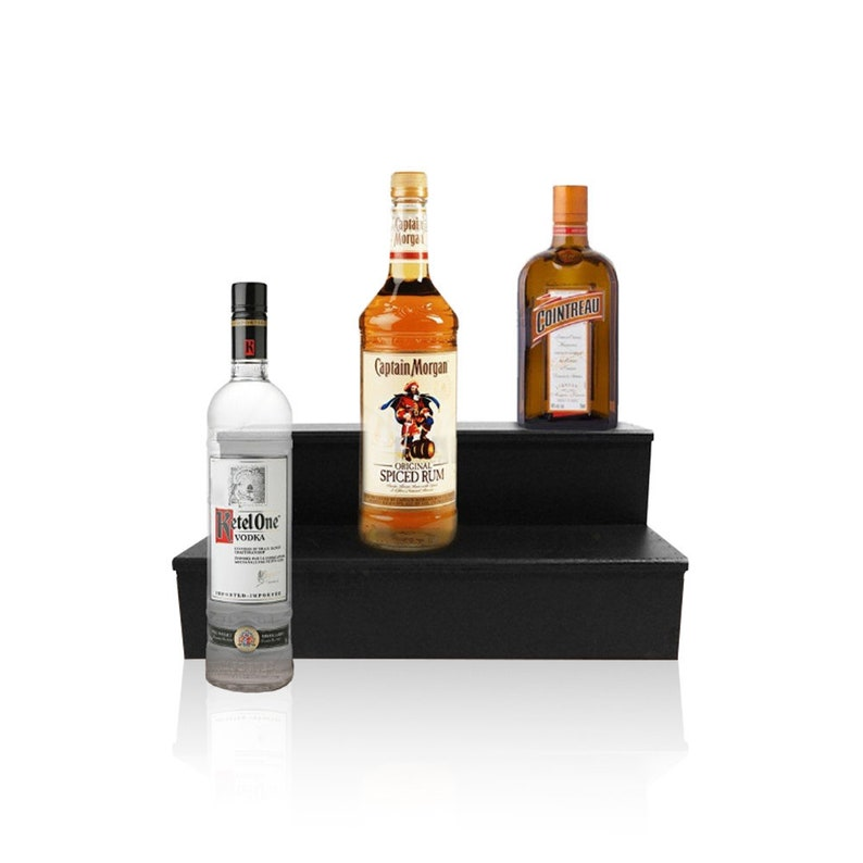 Wood Liquor Shelves - 2 Tier - Black - Multiple Sizes - Bar Shelf - Shelves  for Liquor Bottles - Home Bars