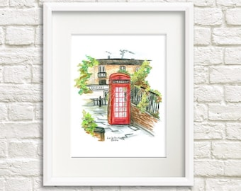 Watercolor Fine Art Print, London Wall Art Telephone Booth Drawing, Travel Artwork, Red Phone Box Painting, London England London Calling