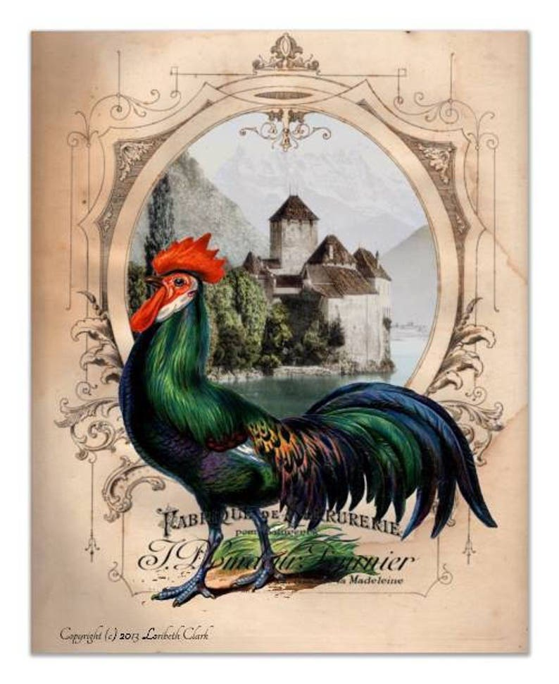 3e96c6536e Roosters Wall Decor 4 Art Print Set French Chateau Roosters   Etsy