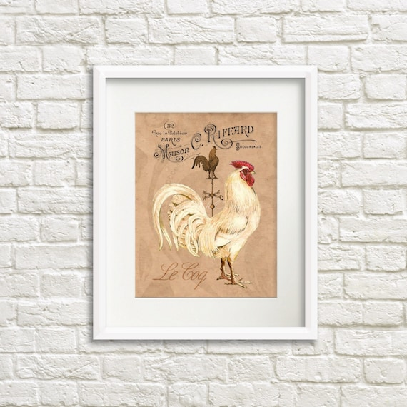French Country Rooster Art Print Rooster Kitchen Decor