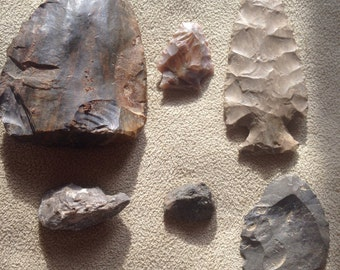 Native American Arrowheads and tools