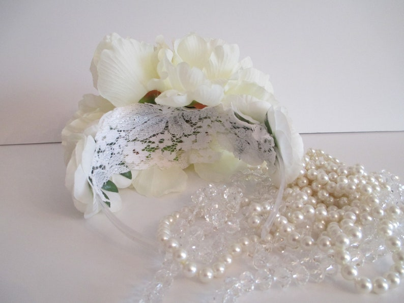Ivory Floral Crown Ivory Wedding Headband Peony Ivory Flowers Floral Headpiece Flower Crown Wedding Bridal Flower Crown Head Wreath