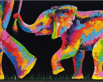 48 x 98 cm, Elephant Painting wall decor on canvas