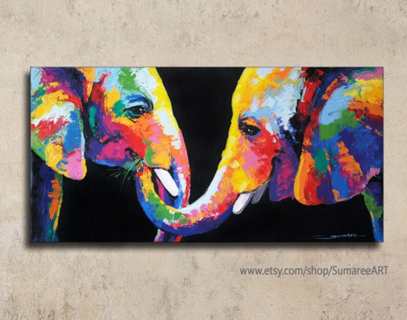 40 X 80 Cm Colorful Rainbow Elephant Painting Wall Decor Paintings On Canvas