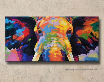 40×80 cm, Colorful Elephant paintings wall decor