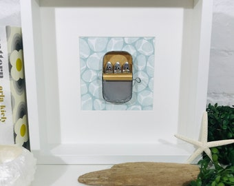 Sardine Tin Picture Family of Three Sardines Tucked Up in a Tin Mixed Media Artwork - Tin Anniversary Gift. Original & Quirky 3D Seaside Art