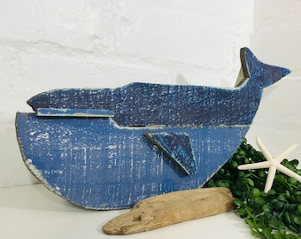 Painted Wooden Whale Wall Art, Nautical Hanging - Coastal Sea Themed Rustic Reclaimed Original & Quirky Seaside Gift