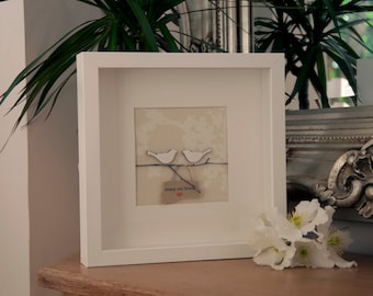 Personalised handmade love birds on a branch picture. Perfect for weddings, anniversaries and the home