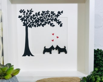 Scottie Dogs Framed Picture. Romantic Painted Scottish Terriers in love handmade paper cut tree picture. Perfect gift for Scotty dog lovers