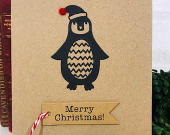 Penguin Handmade Christmas Greetings Card, Die Cut 3D Black Penguin with Hat Christmas Card - Free UK Delivery
