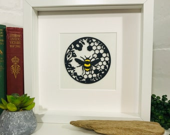 Bee Picture Handmade 3D Papercut flowers & honeycomb detail. Framed Art Christmas Gift - Bee Lovers, Manchester Bee, Bumble Bee, Worker Bee