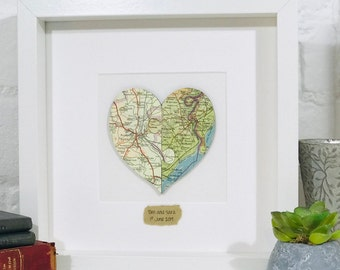 Jigsaw Map Heart Framed Picture, Custom Personalised Wedding, Engagement, Valentine's Couple Puzzle Gift, Two Locations, Vintage Map Art