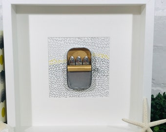 Sardine Tin Picture, Family of Three Sardines Tucked Up in a Tin Framed Mixed Media Original & Quirky Fish Art Tin Anniversary Artwork Gift