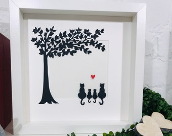 Cats Family Silhouette Paper Cut Cats Framed Picture - Personalised Cat Family Handmade Picture - Purrfect Gift for cat lovers.