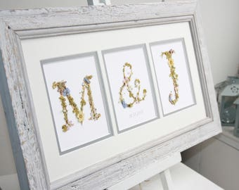 Custom Wedding Initials, using real pressed flowers ~ Handmade letters, ideal wedding anniversary gift for the couple