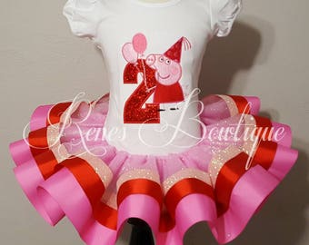 Peppa Pig Ribbon Tutu Set | Party Peppa | Pink and Red | Birthday Party Outfit