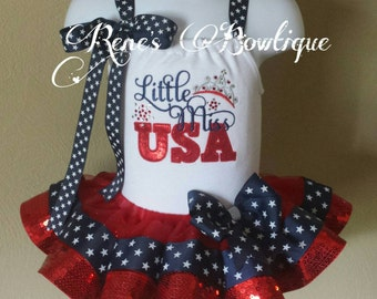 Little Miss USA Ribbon Tutu Set | 4th of July | Independence Day Tutu
