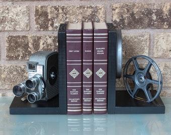 Wooden Vintage Movie Camera Bookends,  movie room & home theater decoration, Keystone K26/K27 Capri Triple Turret, DVD Holder