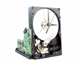 Upcycled Black & Silver Hard Drive Clock and Circuit Board stand - Modern Desk Clock