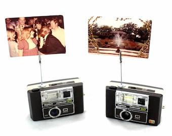 Vintage Camera Photo Holder - 2 Keystone Everflash 20 Cameras - Wedding Name Card Holder, Photo Stand for Instax Film