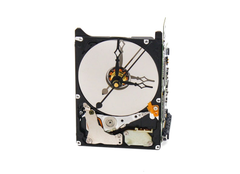 gift for IT Gift for geeks Modern Desk Clock Mini-Me Upcycled Black /& Silver Hard Drive Clock and Circuit Board stand